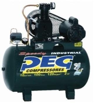 Compressor De Ar 10/100 120 Libras Motor 2hp Mono Peg Industrial