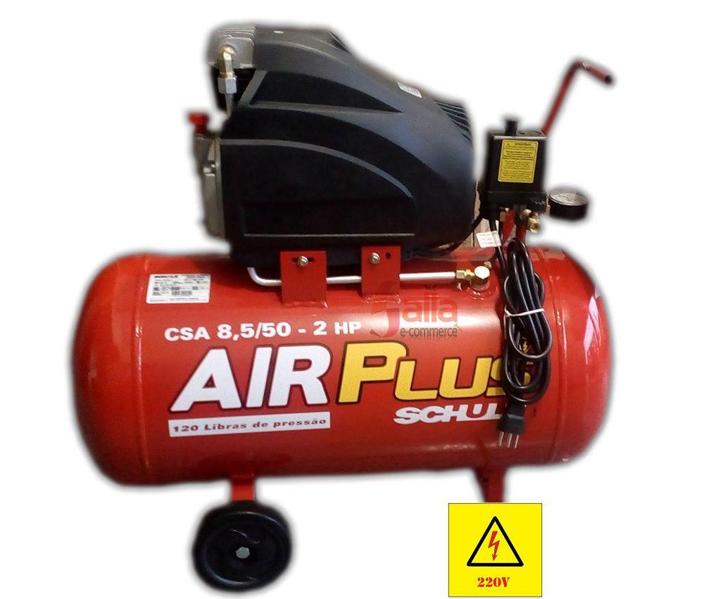Compressor de Ar 120 libras 2HP 50 Litros Mono com Rodas 220V Air Plus Schulz