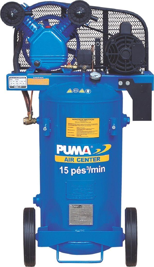 Compressor De Ar 15 pes 76 Litros 3cv mono 220v Puma Brasil PB15/76