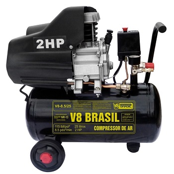 Compressor De Ar 25l 8,5 Pés 2hp Monofasico 127v V8 Brasil