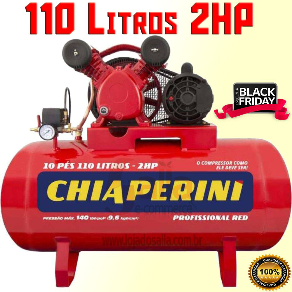 Compressor de Ar Chiaperini 10/100 RED 110l Monofásico 2hp IP2 127/220v Profissional