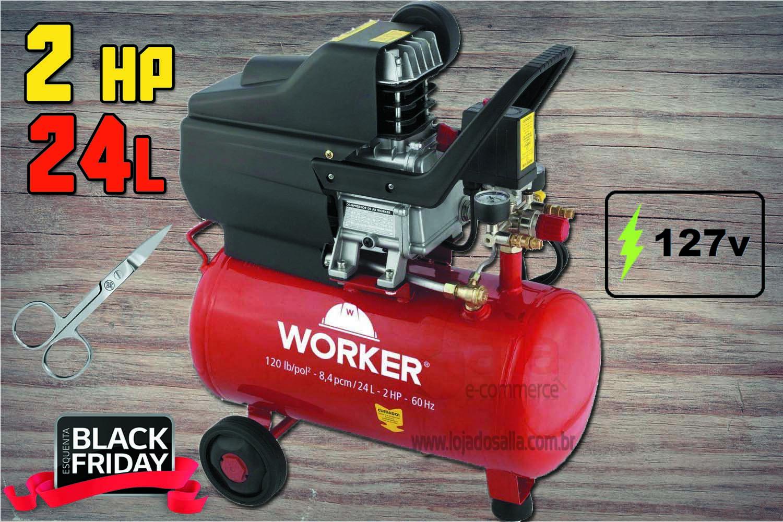 Compressor de Ar Monofásico 2HP 24 Litros 8 Bar 127v Worker + Tesoura Mundial