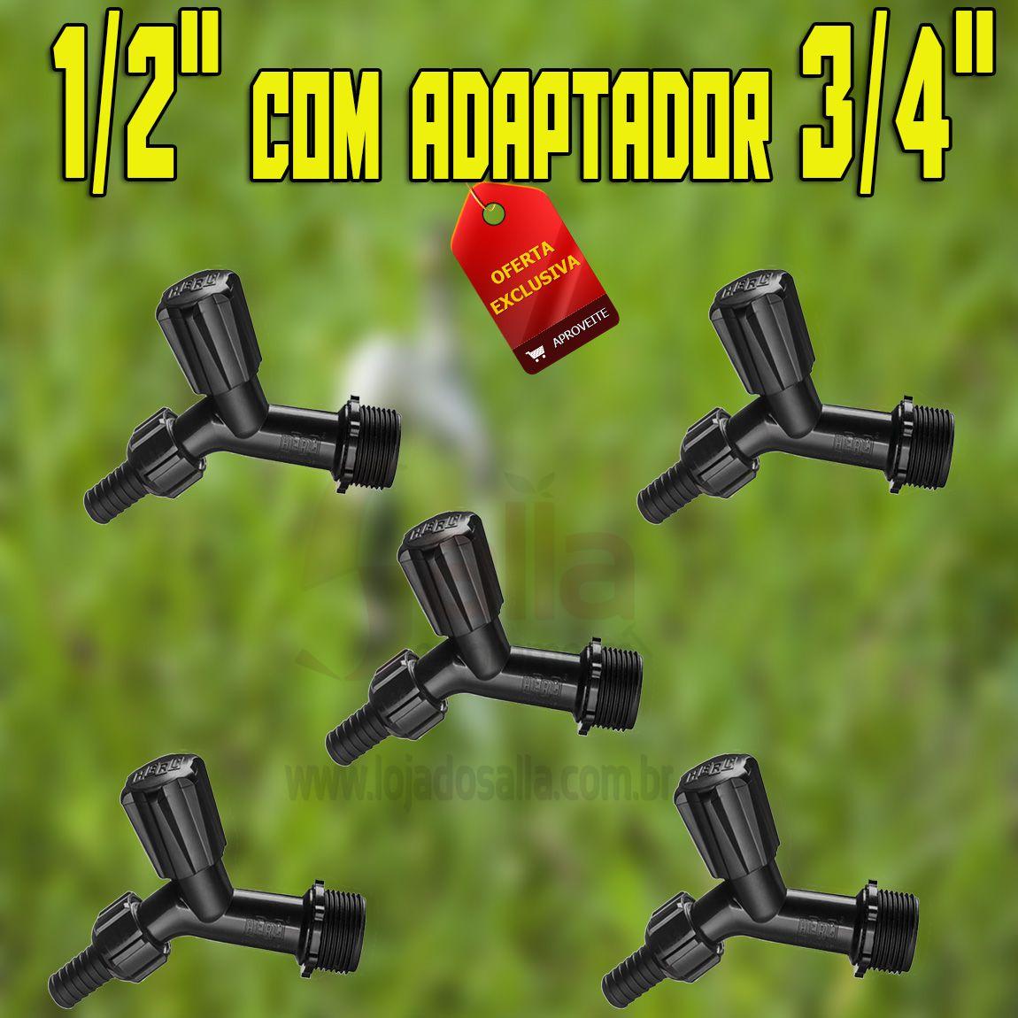 Conjunto / Kit c/5 Torneiras de Jardim / Parede Preta 1/2 a 3/4