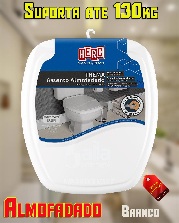 Conjunto / Kit com 2 Tampas de Vaso / Assento Sanitário Branco Almofadado Thema 2395 Herc
