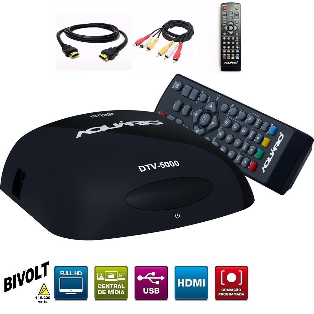 Conversor Digital de TV Full HD Aquário Gravador DTV 5000 Bivolt com cabo Hdmi