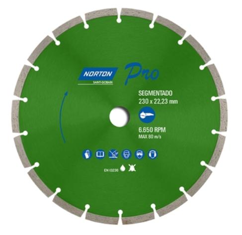 Disco Diamantado Pro Segmentado 230mm X 22,23mm 9 Polegadas Norton