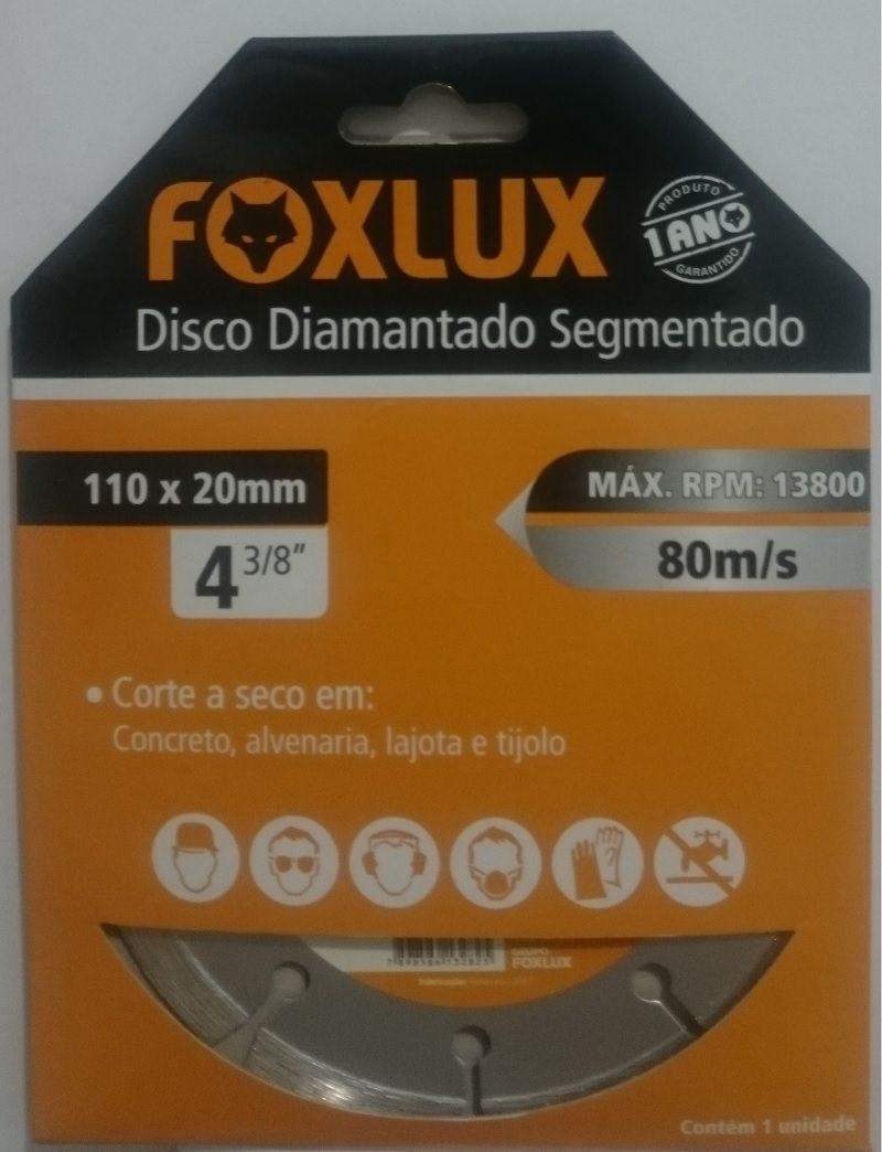 Disco Diamantado Segmentado 110mm x 20mm 3/8 Pol. Foxlux