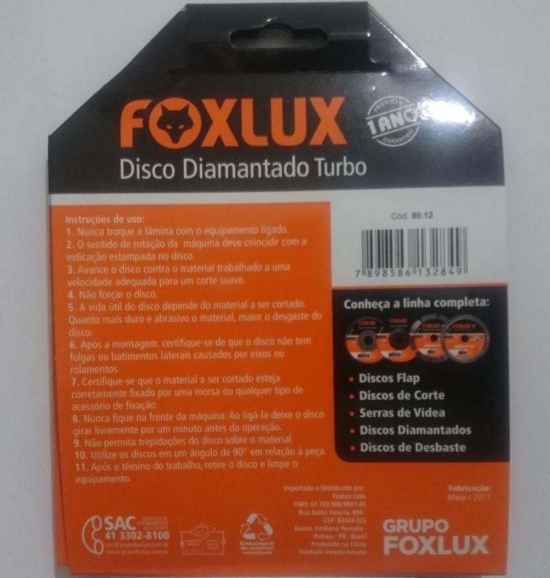 Disco Diamantado Turbo 110mm x 20mm 4 3/8 Pol. Foxlux