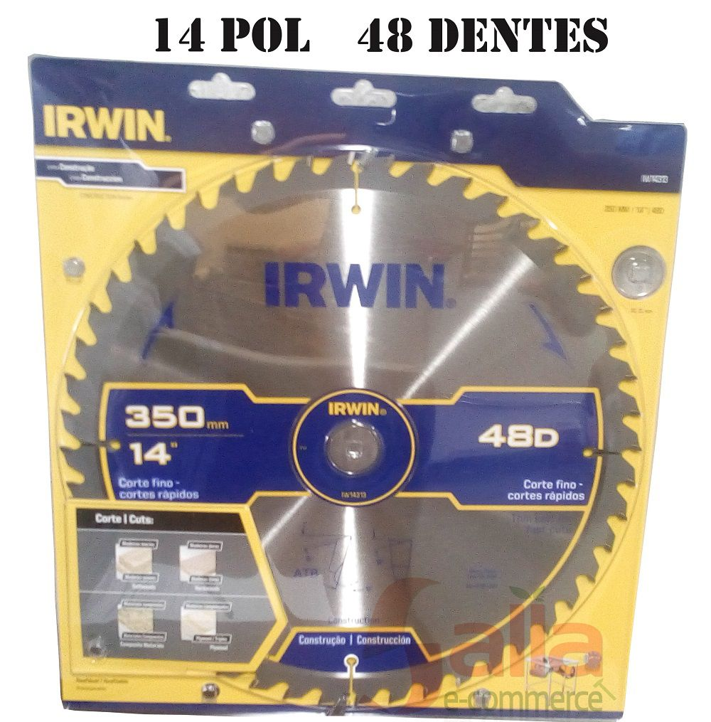 Disco para Serra Circular / Lâmina 350mm x 48 Dentes Irwin 14P IW14313 Corte Madeira