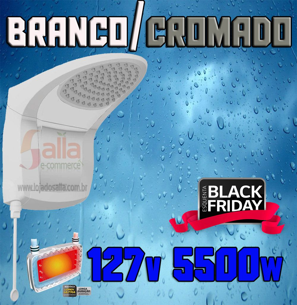 Ducha Acqua Jet Ultra Branco / Cromado Lorenzetti 127v 5500w com Haste Prolongadora