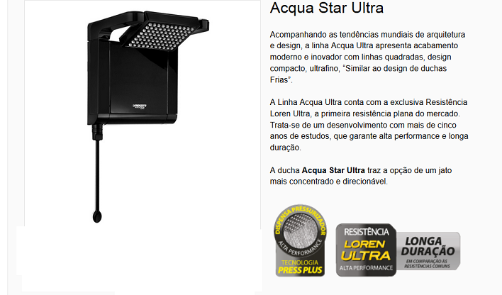 Ducha Acqua Star Ultra Black Elêtronica 127v 5500w Preta