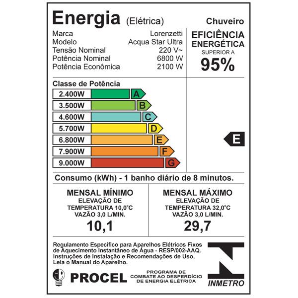 Ducha Chuveiro Acqua Star Ultra Black Eletrônica 220v 6800w
