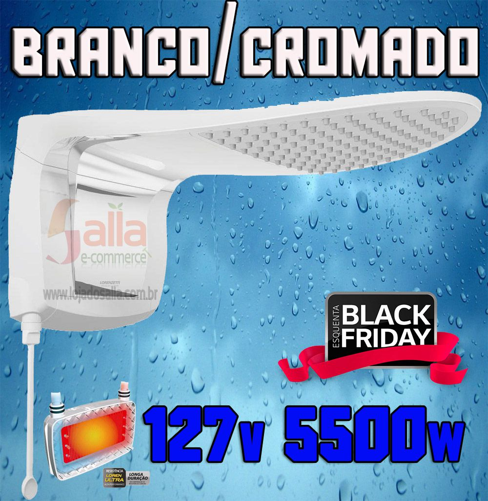 Ducha Chuveiro Acqua Wave Ultra Branco Cromado Lorenzetti 127v 5500w