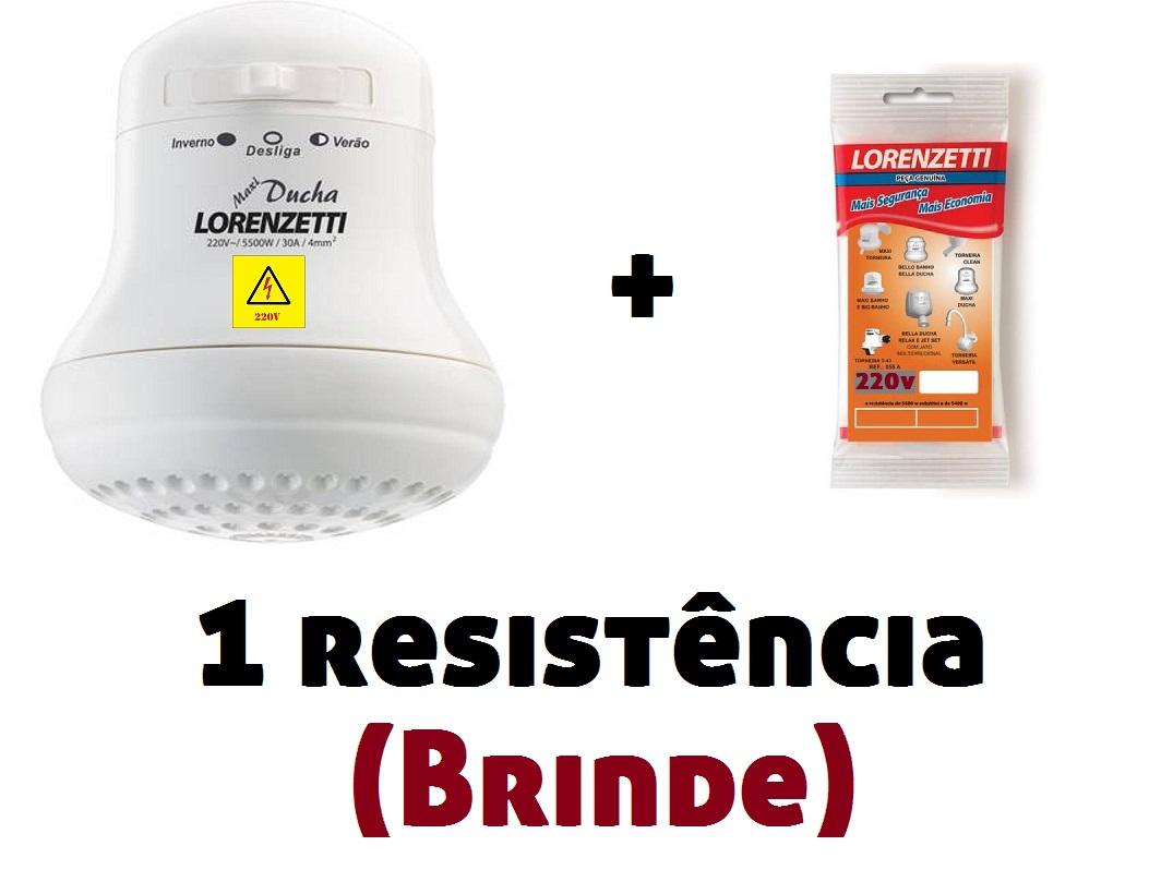 Ducha Chuveiro Banho Maxi Ducha Lorenzetti 220v 5500w + Resistência Brinde
