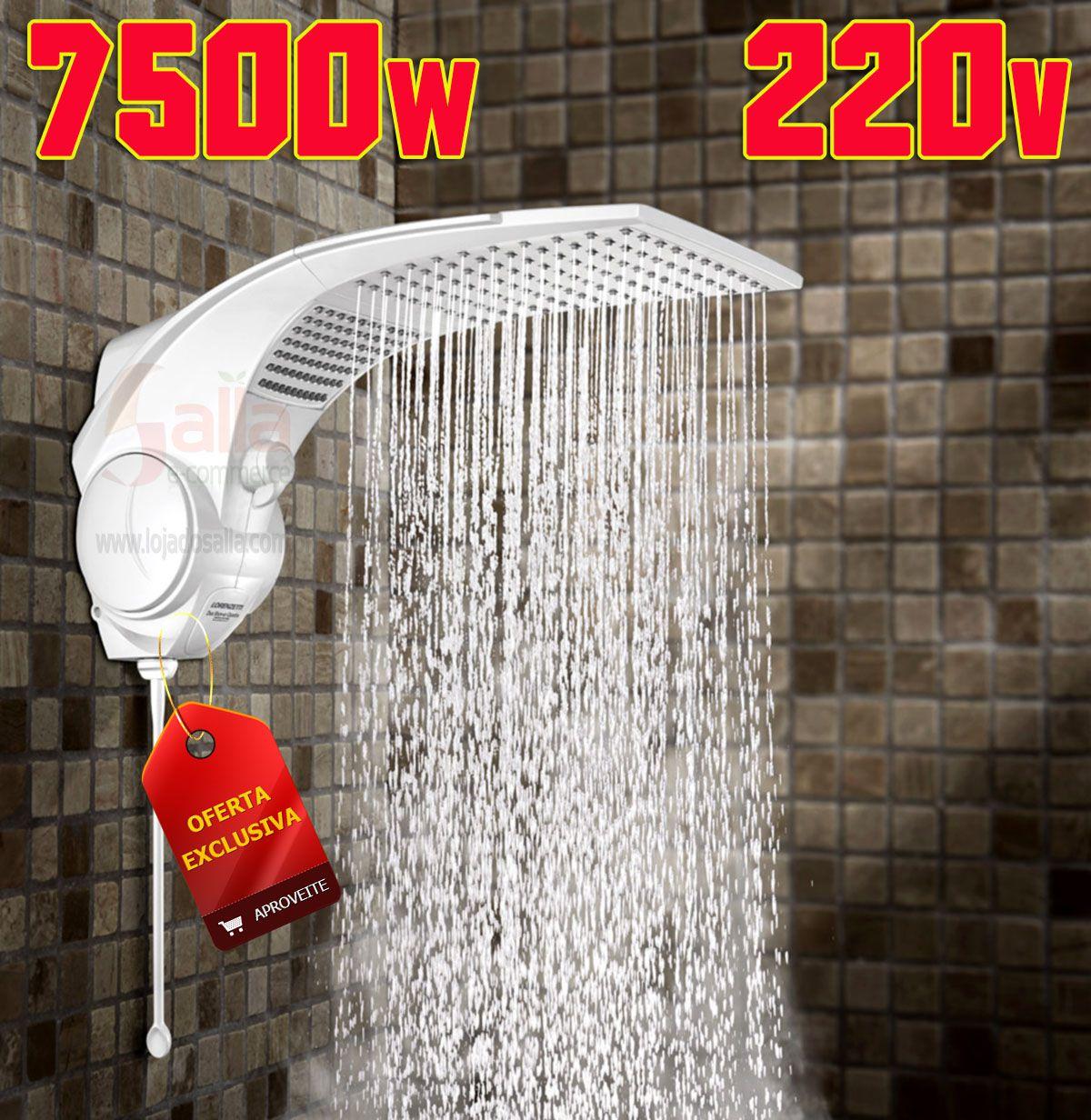 Ducha / Chuveiro Elétrico Duo Shower Quadra Eletrônica 220v 7500w
