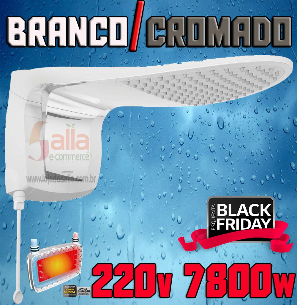 Ducha Chuveiro Eletrônico Acqua Wave Ultra Branco Cromado Lorenzetti 220v 7800w