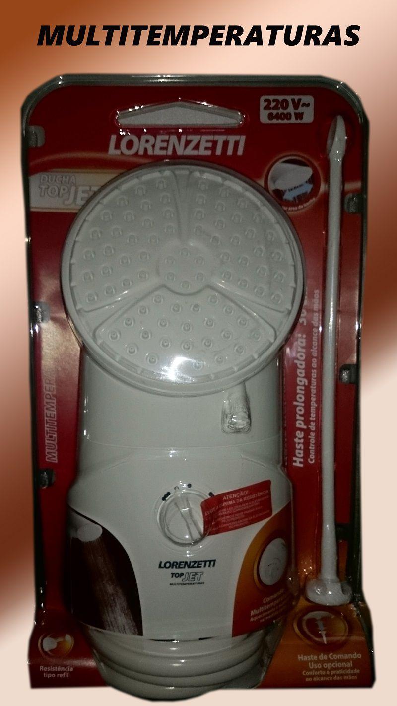 Ducha TopJet Multi Lorenzetti 220v 6400w Branca Chuveiro com Haste Prolongadora 30cm
