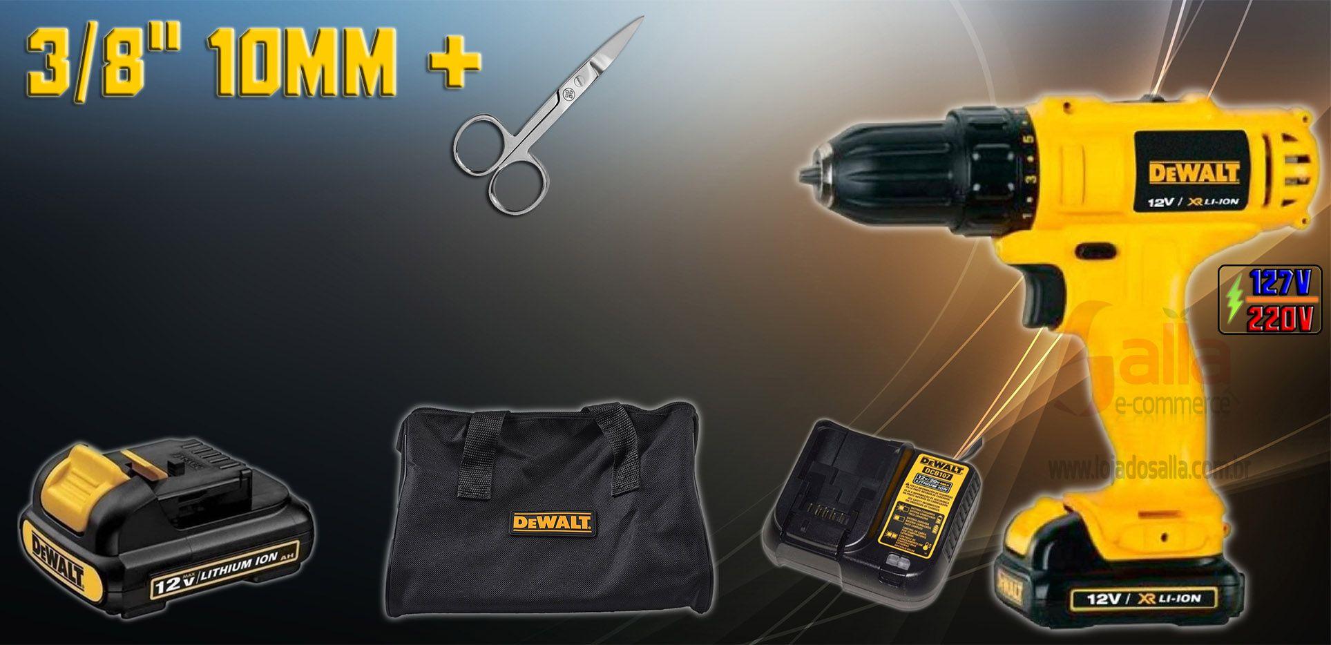 Furadeira/Parafusadeira 12v c/2 Baterias e Bolsa Dewalt DCD700C2 Bivolt + Tesoura Mundial