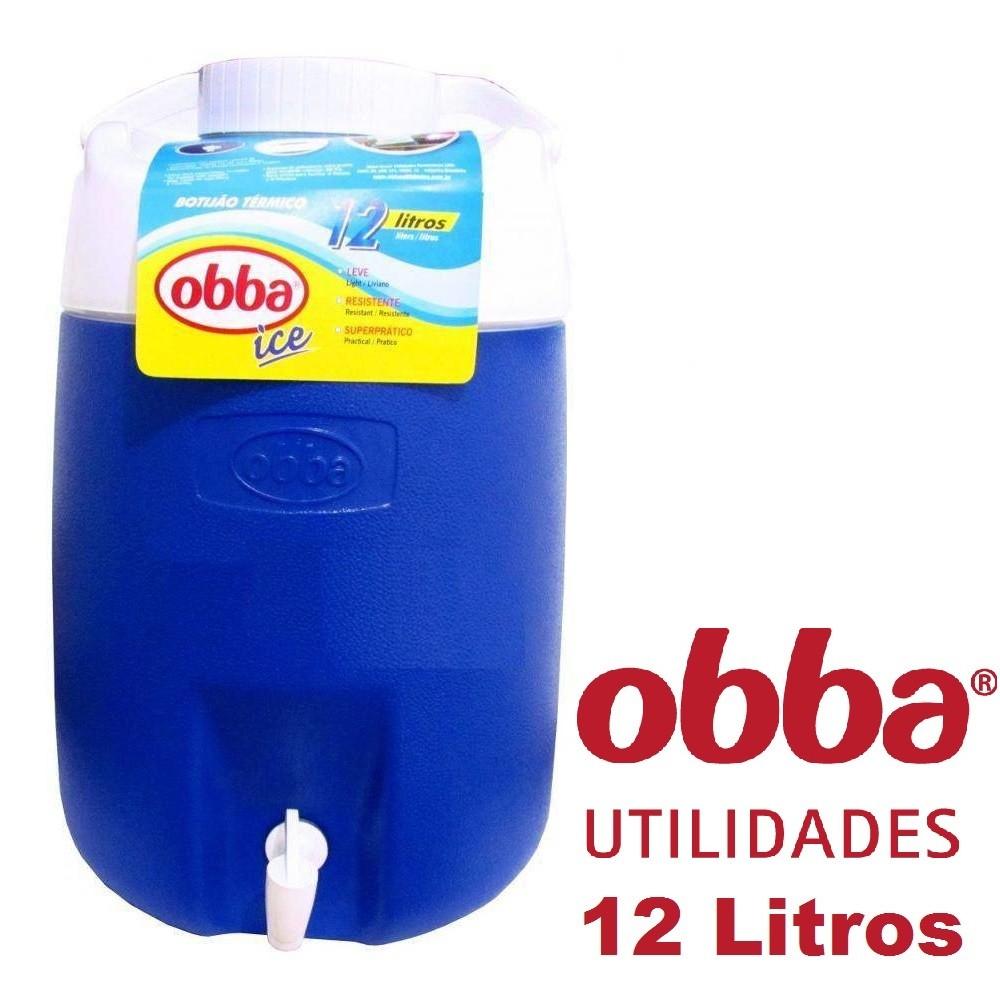 Garrafão / Botijão Térmico Obba Ice 12 Litros Azul Com Torneira
