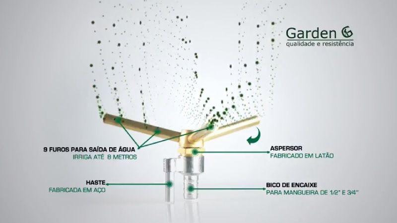 Irrigador Giratório para Jardim 3/4 Polegadas 9 Jatos Garden