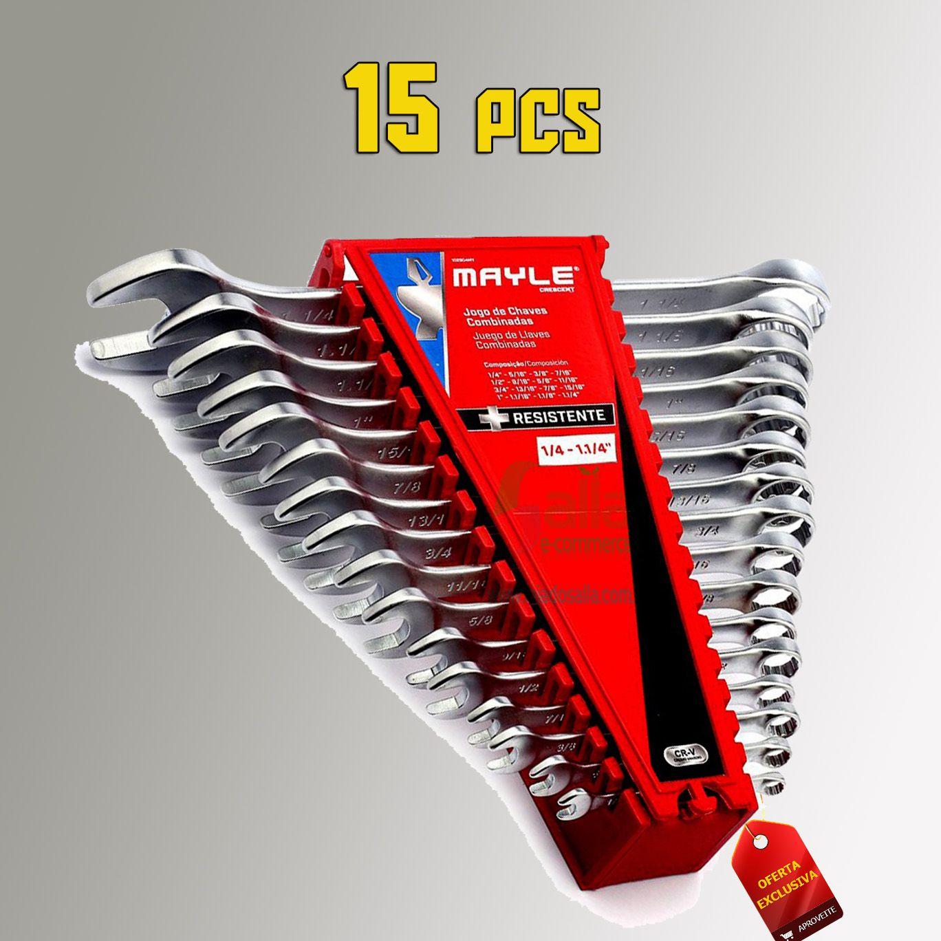 Jogo Chave Combinada 6 a 32mm 15 Peças Mayle em Aço Carbono
