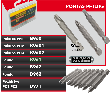 Jogo De Pontas 10 Pçs B961 Black Jack 4mm Cromo Vanadio Profissional