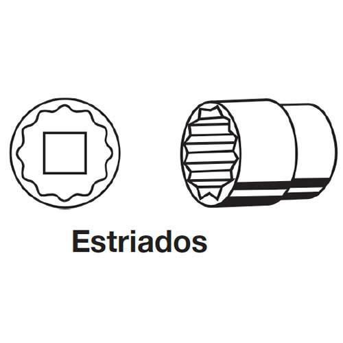 """Jogo de Soquete Estriado com Encaixe 1/2"""" de 10 a 32mm Jogo com 28 Peças Sata - ST09090SJ"""