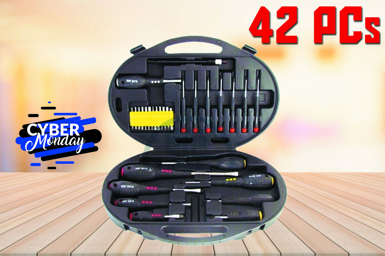Jogo / Kit de Chave de Fendas / Philips e Bits 42 Peças Black Jack B311 com Maleta