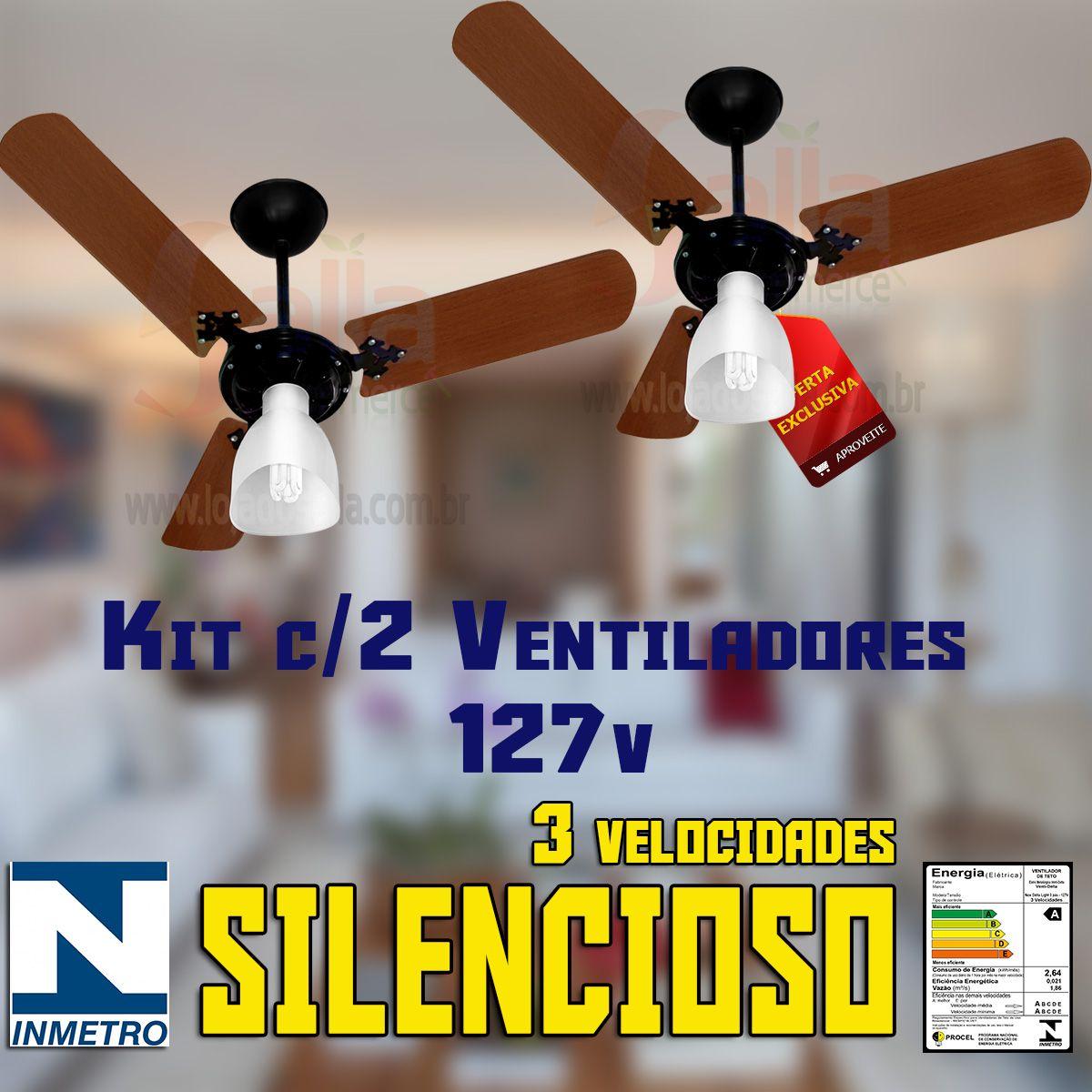 Kit c/2 Ventiladores De Teto New Delta Light Preto com Pás Marrom 127v com 3 Velocidades Silencioso