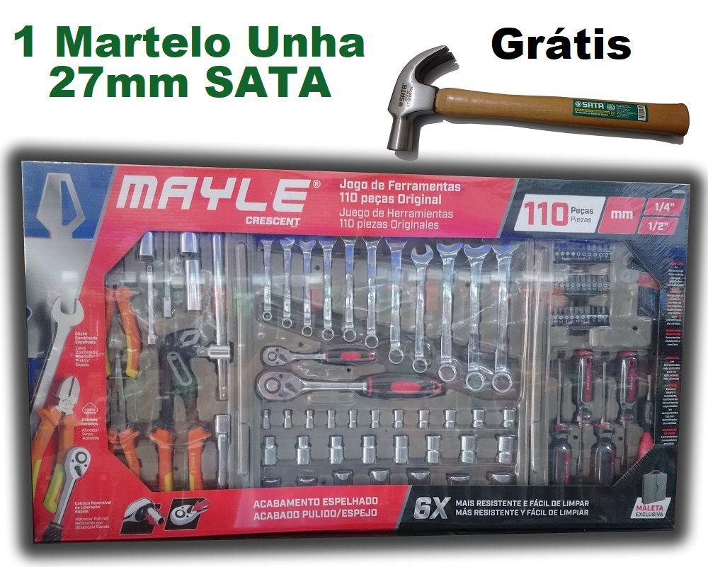 Kit Jogo Conjunto de Chaves Ferramentas com 110 Peças Mayle Original Espelhada + Martelo Unha 27mm SATA (Brinde)