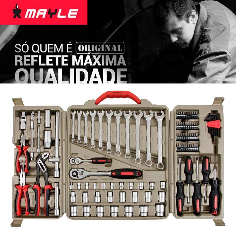 Kit Jogo Conjunto Ferramentas com 110 Peças Mayle Original Espelhada
