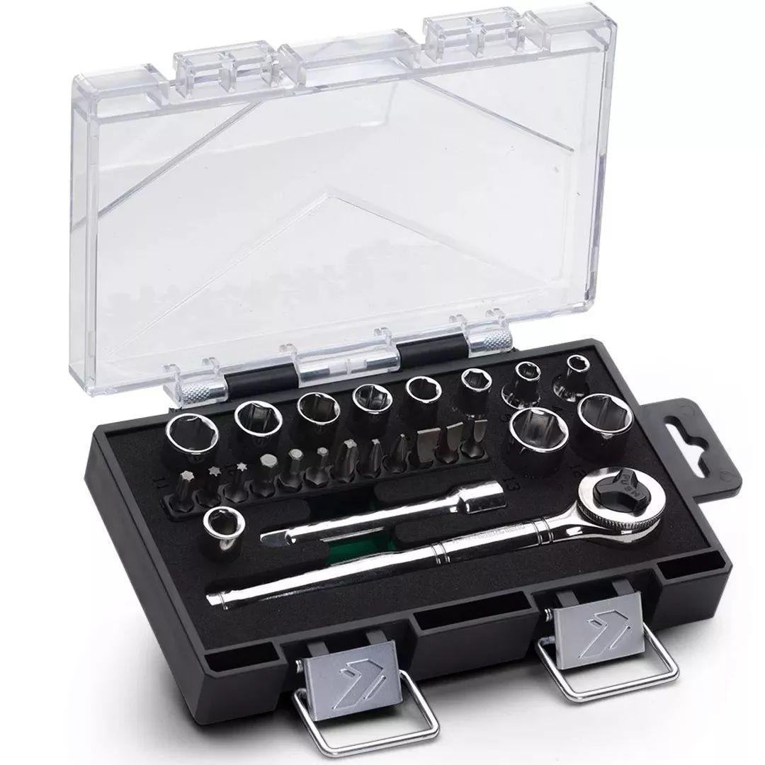 Kit Jogo de 25 Pcs Chaves Soquetes Catraca 1/4 Sextavado 4 A 13mm Belzer 234410IBJ