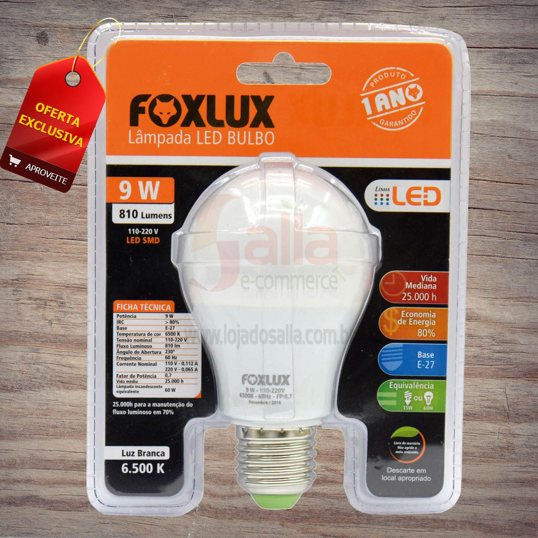 Lâmpada Led Bulbo 9W E27 810 Lumens A60 6500K Foxlux Bivolt Automático