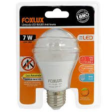 Lâmpada Led Bulbo 7W A60 Anti-Inseto Foxlux Luz Amarela Bivolt Automático Base E-27