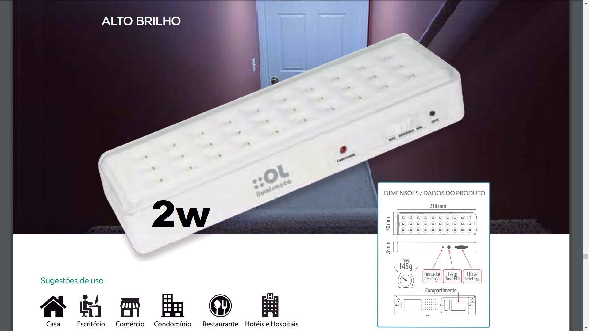 Luminária / Luz / Iluminação de Emergência 30 Leds 2W OL