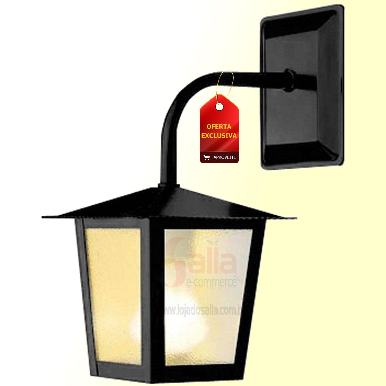 Luminaria  Lanterna Parede Quadrado Preto L-2-B Ideal