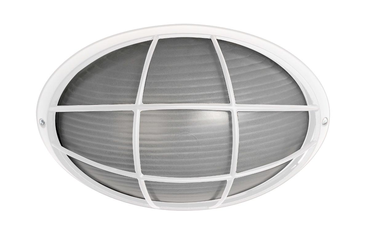 Luminária Náutica Oval Com Grade Bronzearte branco