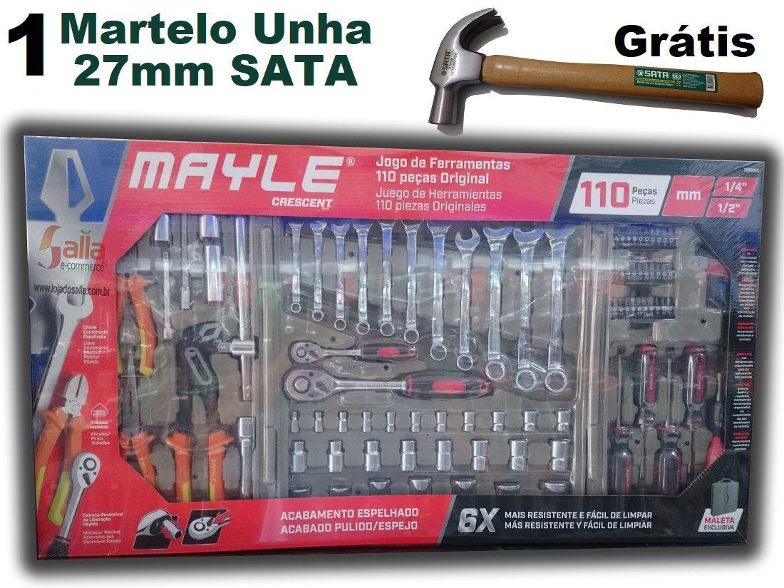 Maleta Kit Jogo Conjunto Caixa de Ferramentas com 110 Peças Mayle Original Espelhada + Martelo