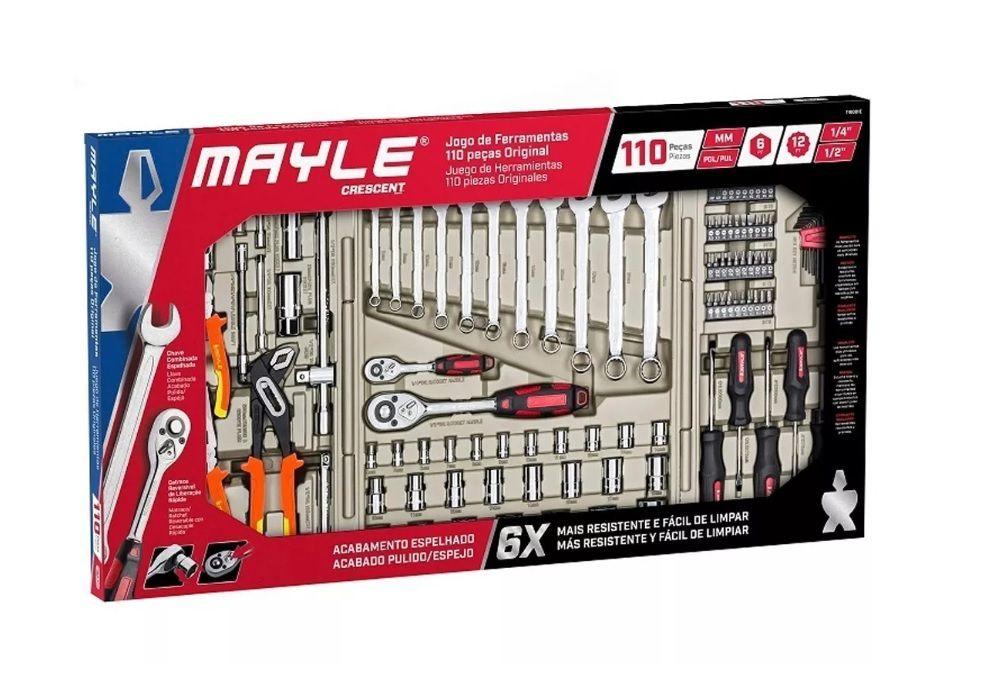 Maleta Kit Jogo Conjunto Caixa de Ferramentas com 110 Peças Mayle