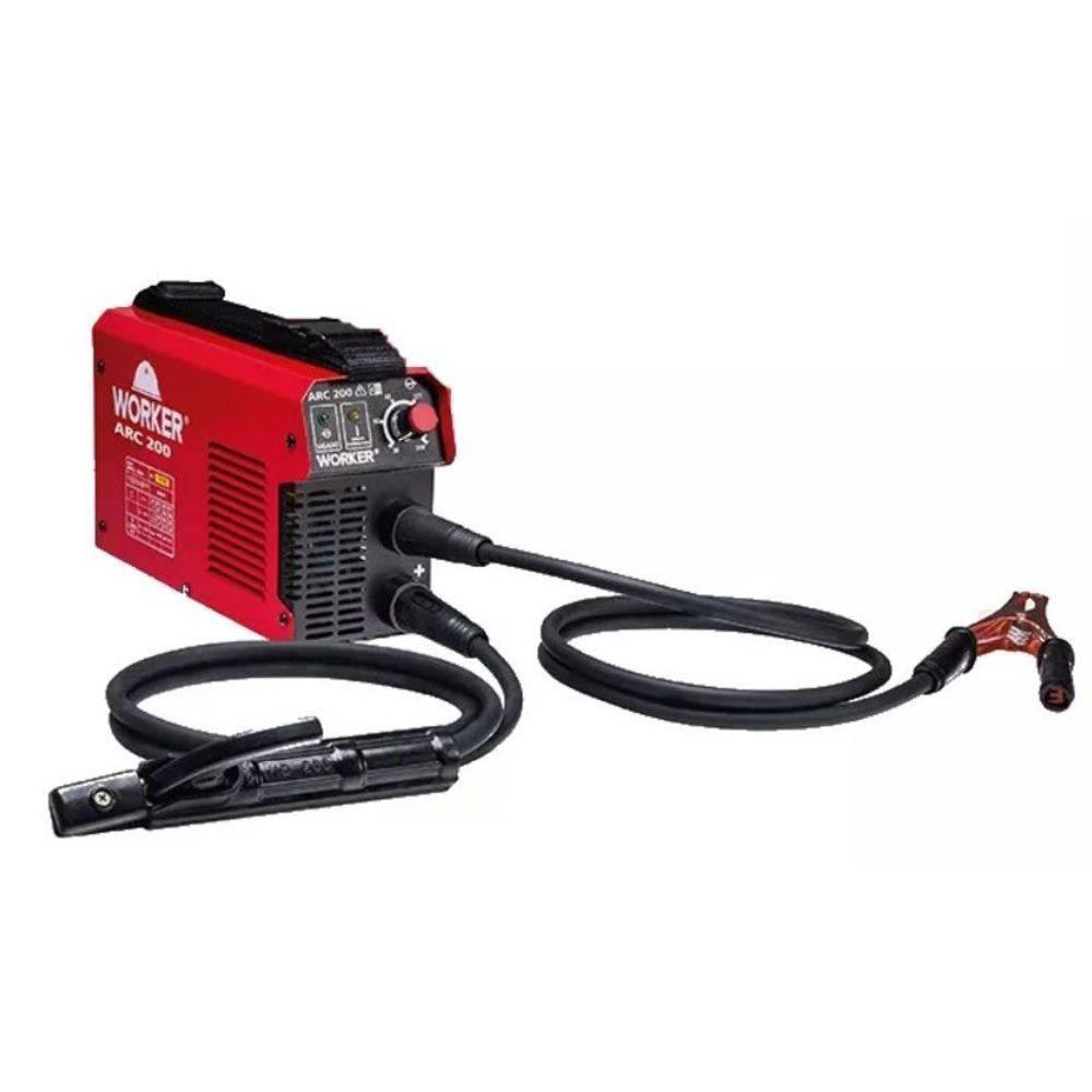 Máquina de Solda Fonte Inversora Eletrodo ARC 200A 220v Worker c/Garra Negativa