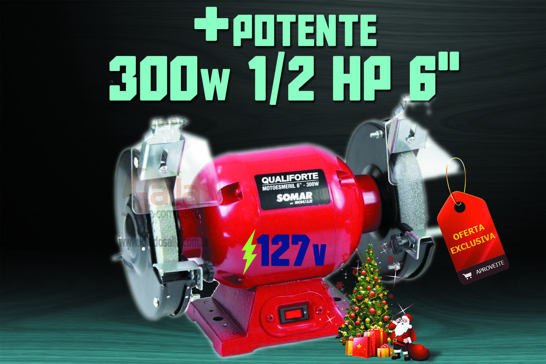 Moto Esmeril de Bancada 300w Motor +Potente e Silencioso Qualiforte Ms6 127v Somar By Schulz