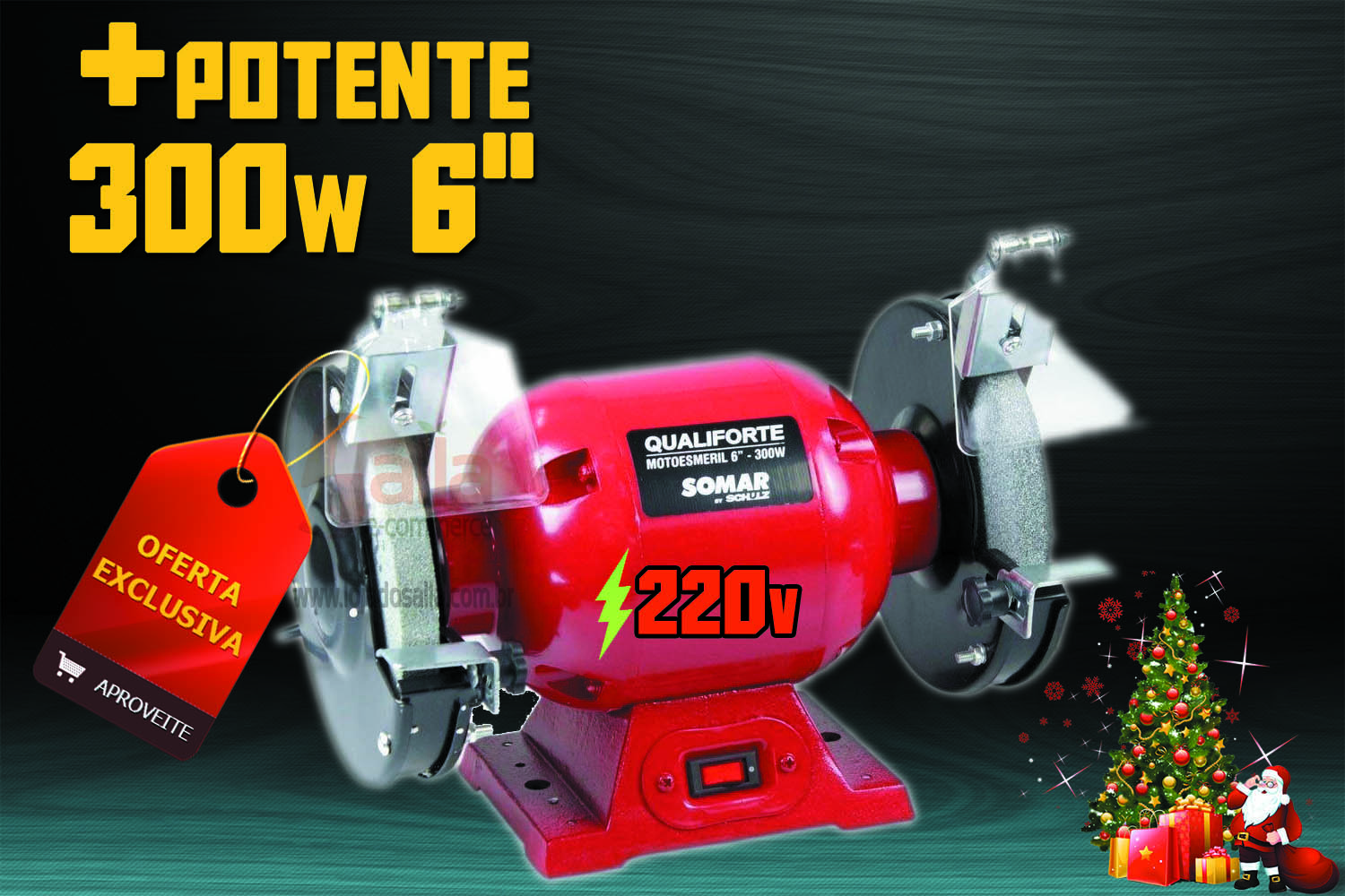 Moto Esmeril de Bancada 300w Motor Potente Qualiforte Ms6 220v Somar By Schulz