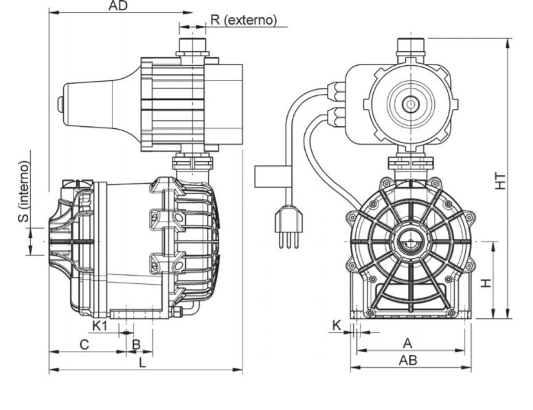Motobomba Centrífuga Pressurizador de Água c/Pressostato Eletrônico 1,5CV 220V  Syllent MB71E0004AP/PREL5