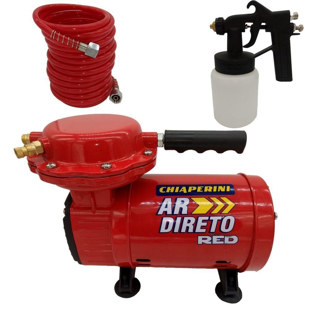 Motocompressor de Ar Direto Red 1300w 1/3HP Bivolt c/ Mangueira/Pistola Pintura Chiaperini