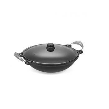 Panela wok ferro fundido tampa vidro 6 Litros Panela Mineira Fumil