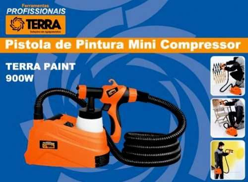 Pistola de Pintura Pulverizadora Compressor 900w 127v Spray Paint Terra