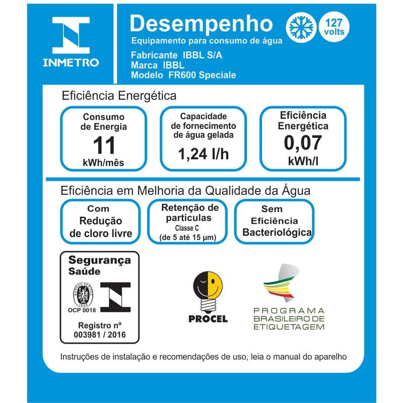 PURIFICADOR REFRIGERADOR DE ÁGUA FR-600 SPECIALE BRANCO 127v IBBL