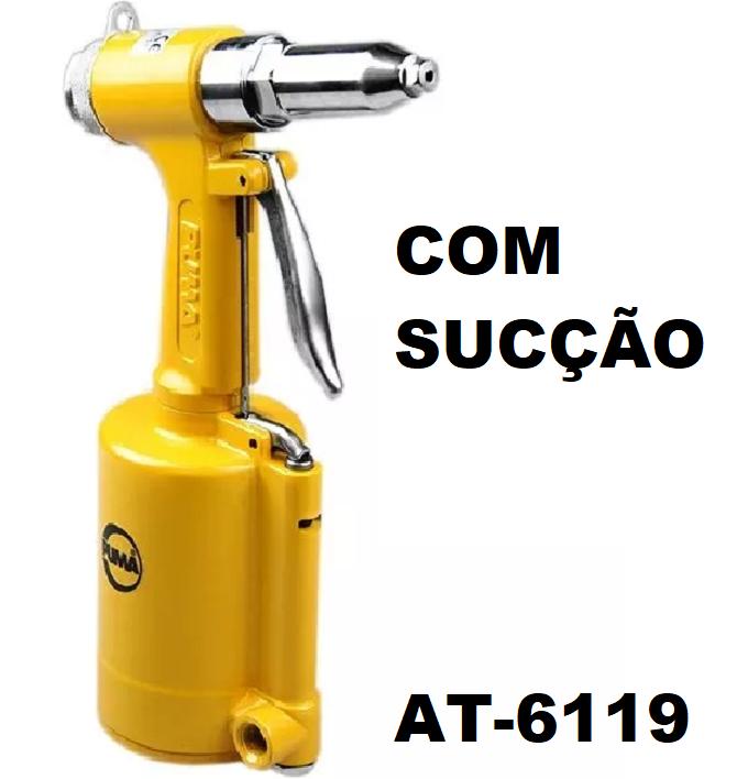 Rebitador Pneumático Rebites  Cap. 1/4 Pol com Sucção Puma AT-6119 com Acessórios