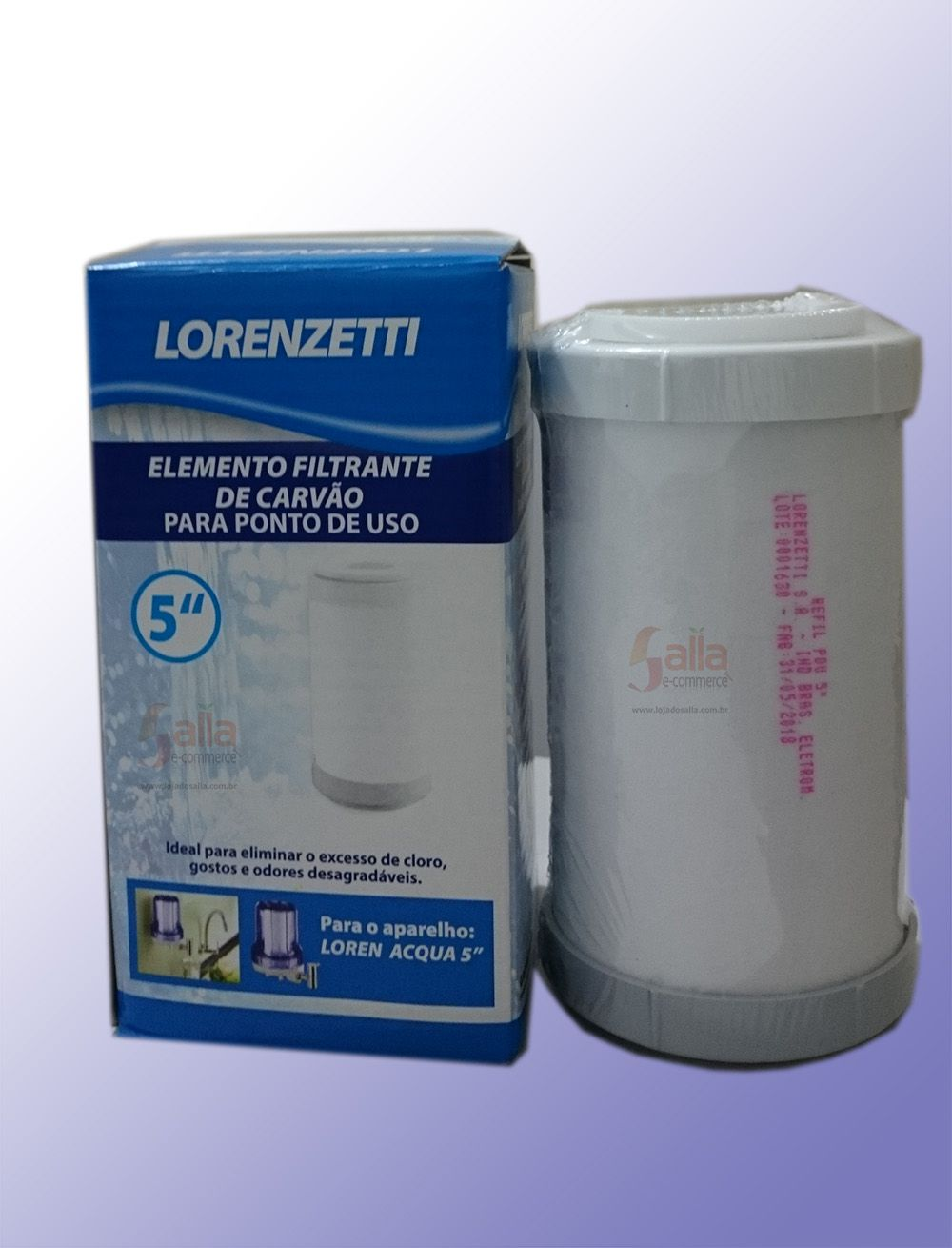 Refil Filtro Elemento Filtrante Carvão Para Ponto De Uso 5 Pol.  Lorenzetti