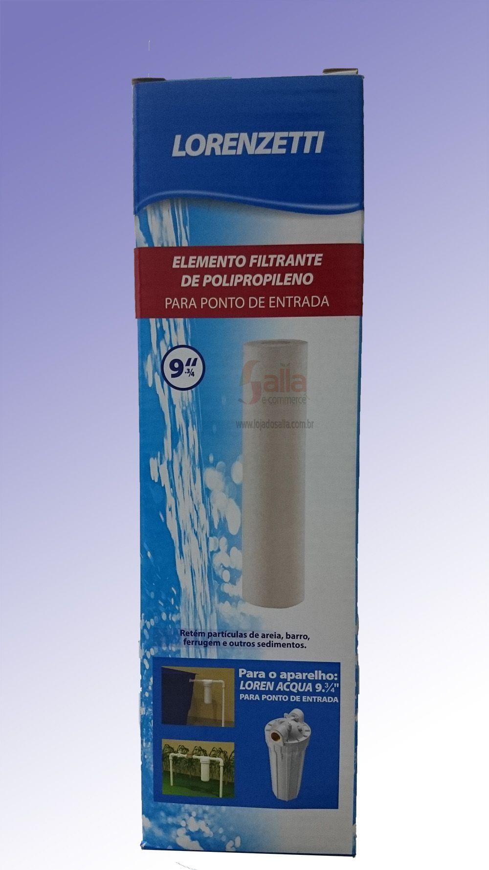 Refil Filtro Elemento Filtrante p/ Loren Acqua 9 3/4 Pol Polipropileno Lorenzetti Ponto de Entrada